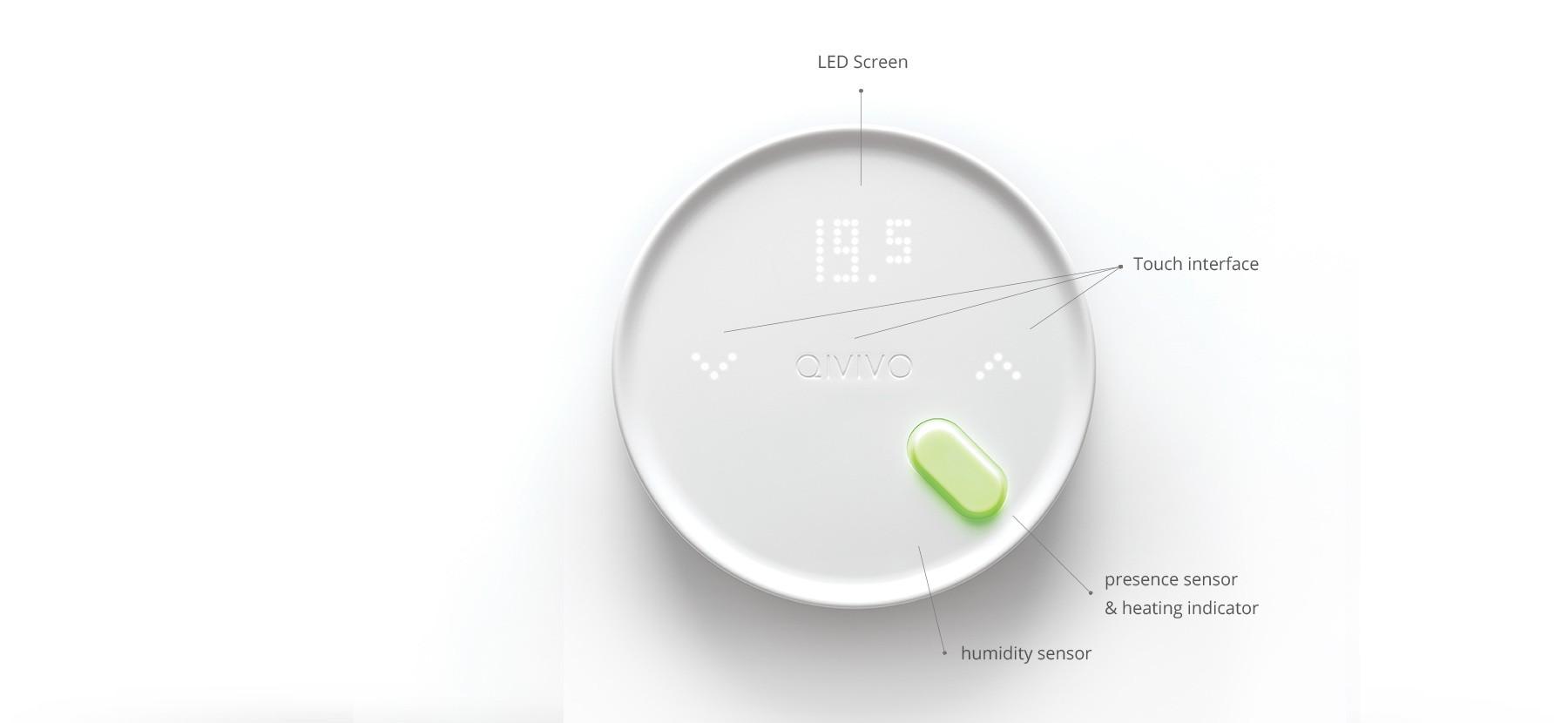 White round Thermostat, with stylish design, LED screen, tactile interface on 3 areas, capteur de présence, heating indicator and humidity captor inside